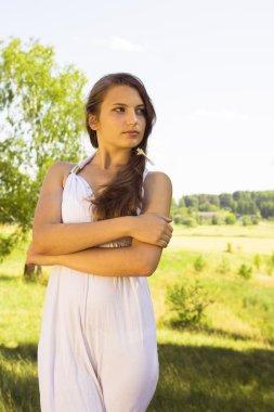 Teen Girl Dressed in Casual Short Dress