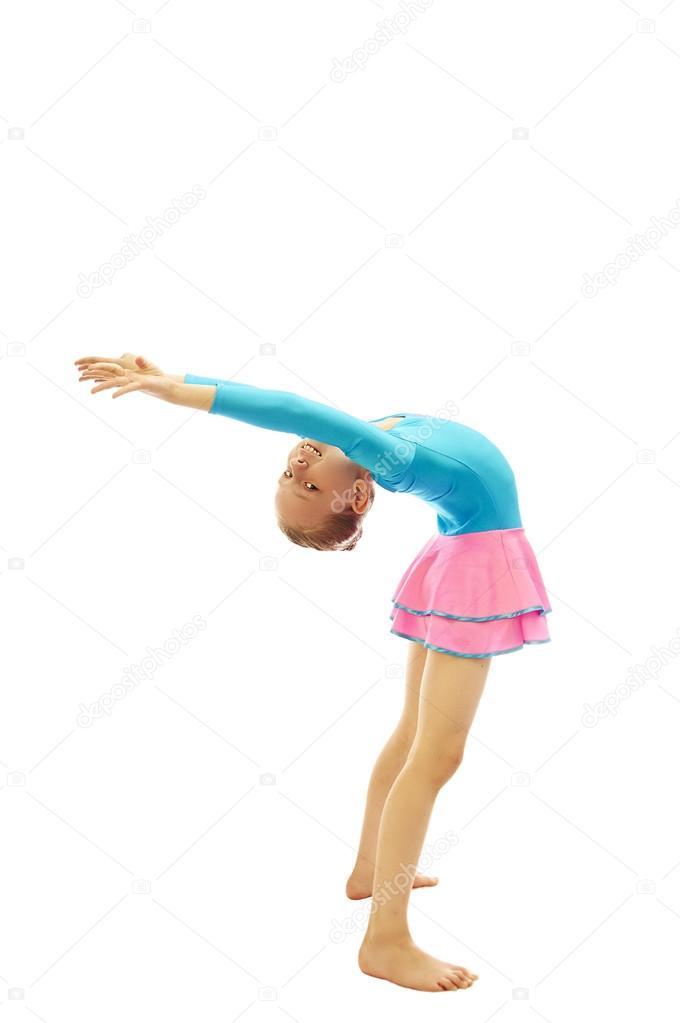 b8514179a young girl doing gymnastics exercises — Stock Photo © CarMan  86715652