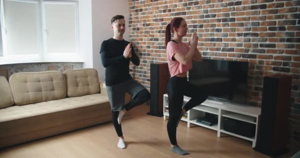 Young man and woman in activewear doing exercise during workout at home