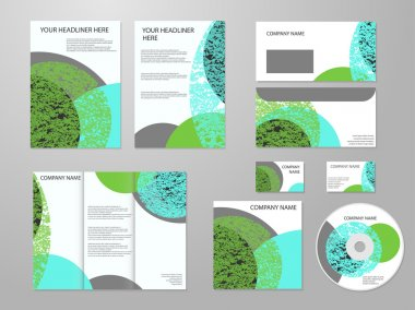 Professional corporate identity or business kit with geometric abstract design for your business includes CD, Cover, Business Card, Envelope, Flyers and trif-old brochure. Eco, biology, beauty and