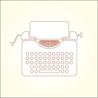 Tipewriter vector thin line icon illustration.