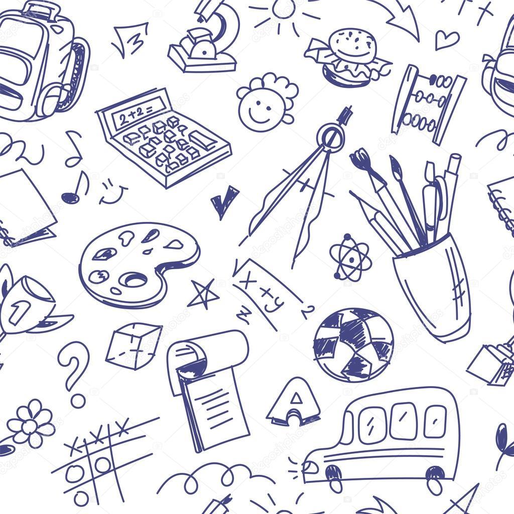 Fondo: a lapiz | Patrón de la escuela sin costura creativa con ...