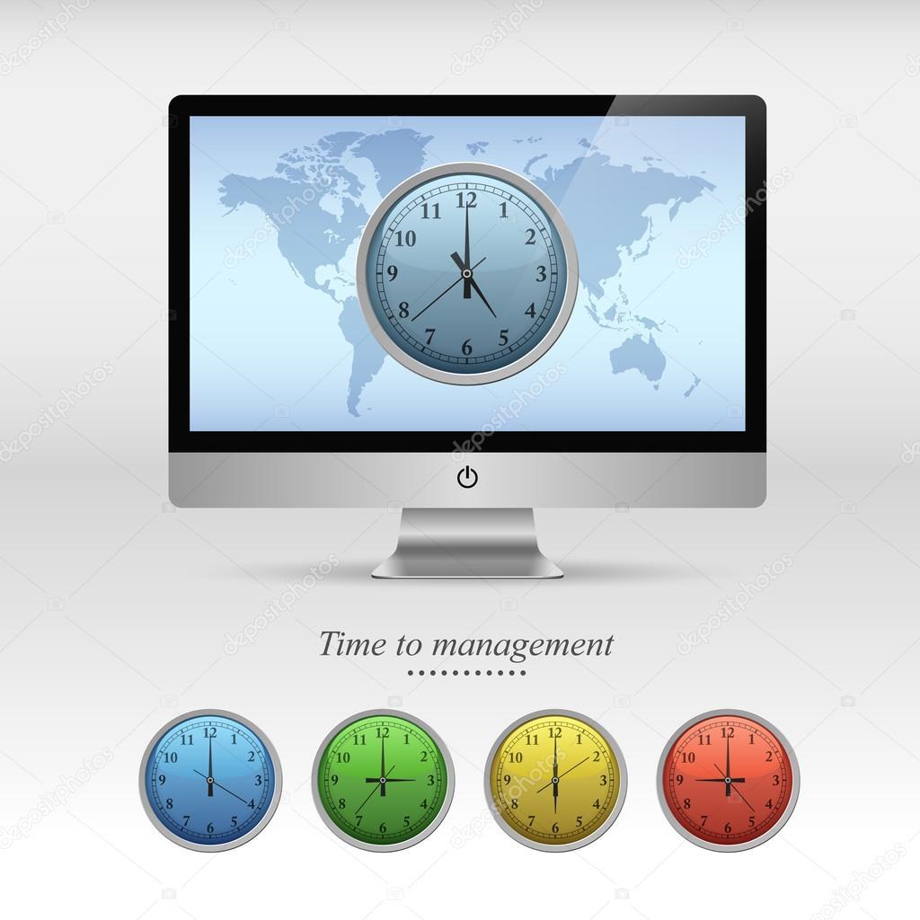 Bildschirm und Business Uhren Vorlage — Stockvektor © dendiz #73832715