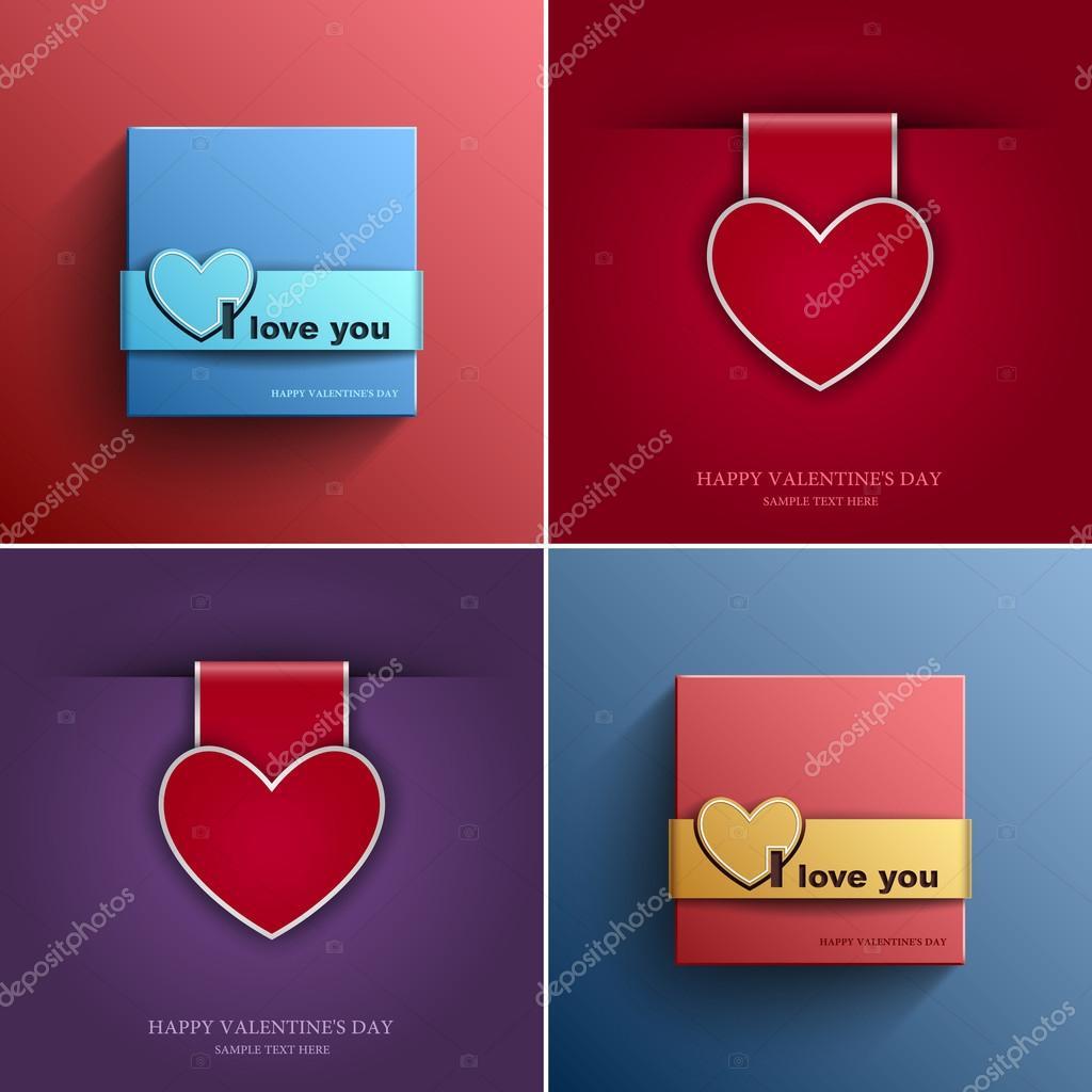 Valentinstag Set Karten mit Herz Vektor-Design-Element-Vorlage, Eps ...