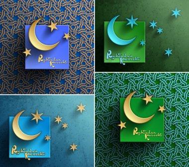 Vector Ramadan Kareem Celebration Greetings cards For holy month of muslim community, Vector Eps 10