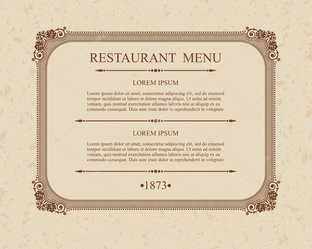 calligraphic menu restaurant typographic design elements