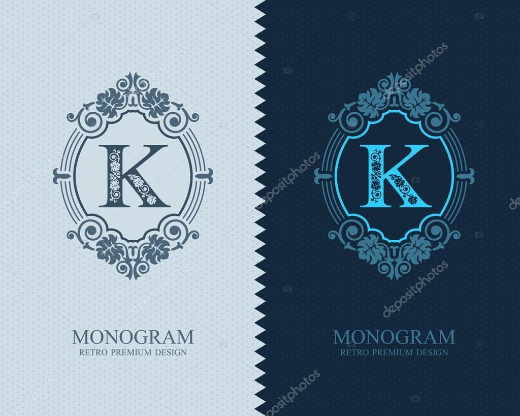 Plantilla de carta emblema K — Vector de stock © dendiz #96167998