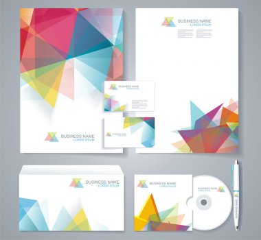 Corporate identity template with blue and green geometric elemen