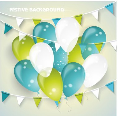 Festive vector background with colorful balloons, pennants and c