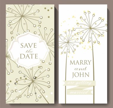 Marriage invitation card with flower background.