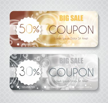 Discount coupon template with premium pattern