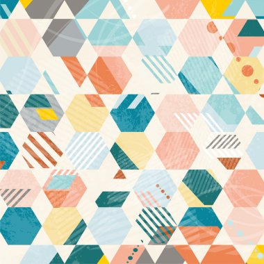 Abstract Retro Geometric hexagonal pattern.