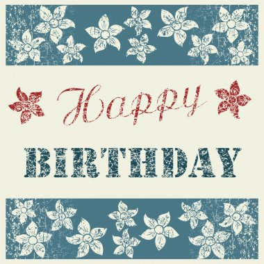 Happy Birthday Card with floral composition on natural clean den
