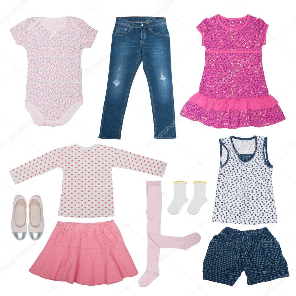 74820d8e8d8 Набор летняя одежда для девочки изолированные– Стоковое изображение
