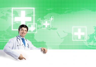Doctor with white blank banner