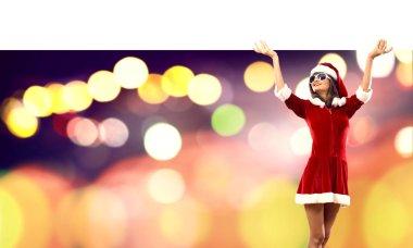 Santa woman with blank banner