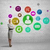 Podnikatelka a aplikací ikony