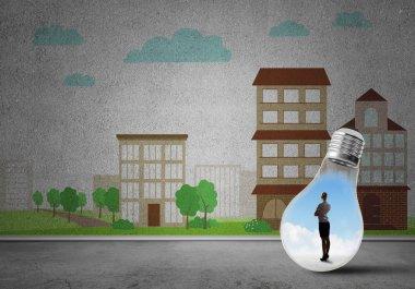Businesswoman inside light bulb against city drawn concept stock vector
