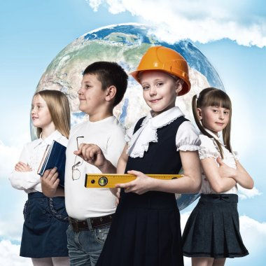 Future profession. Children of school age trying different professions. Elements of this image are furnished by NASA stock vector