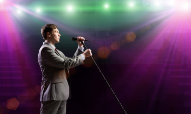 Young  Businessman with microphone