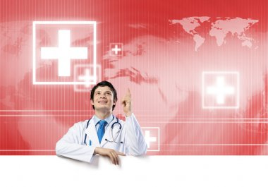 Young handsome doctor holding white blank banner. Place your text stock vector