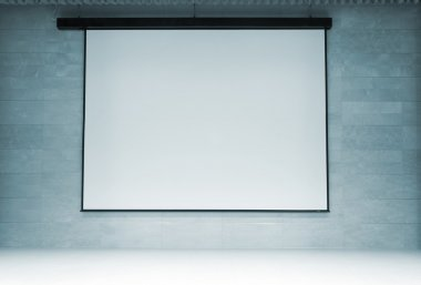 Movie theater with blank screen