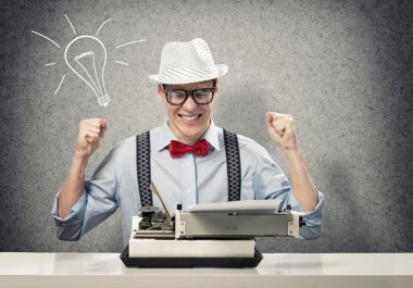 Writer having great idea