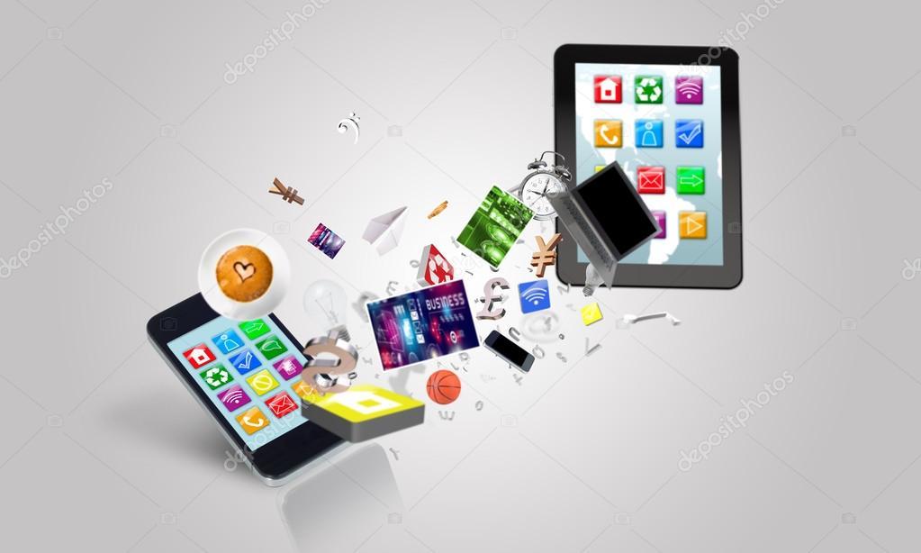 Elektronische Geräte und Symbole — Stockfoto © Khakimullin #67115027