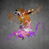 Fényképek absztrakt színes sziluettje táncos