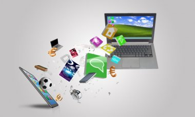 Laptop and mobile smartphone and icons