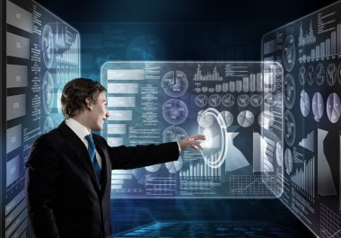 businessman working with  virtual panel