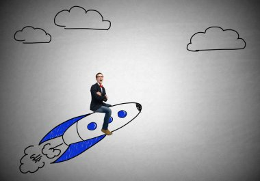 Young businessman flying in sky
