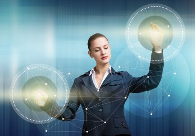 businesswoman with virtual panel