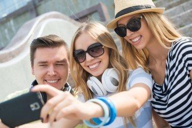 people making selfie