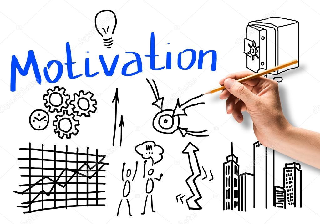 Mano dibujo bocetos lápiz de negocio motivación y objetivos — Foto de  Khakimullin