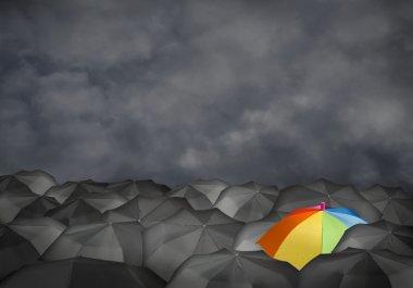 Conceptual image with colorful umbrella
