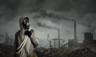 Man survivor in gas mask