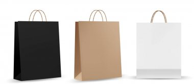 Shopping bag mockups. Paper package isolated on white background. Realistic mockup of craft paper bags. icon