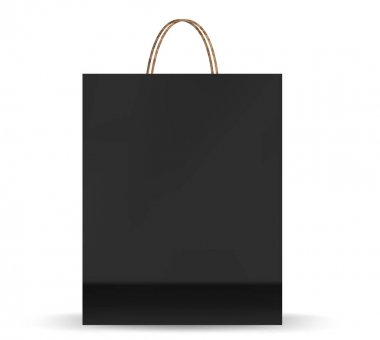 Empty Shopping Bag Shopping goods and products transportation shoppings from shop or grocery. Realistic mockup of craft paper bags. icon