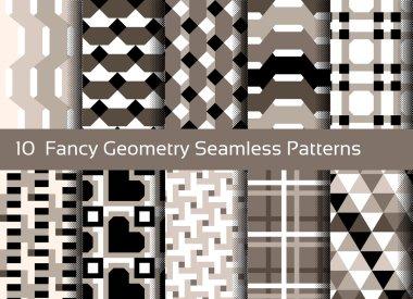 Geometric seamless pattern background. Set of 10 abstact motifs.
