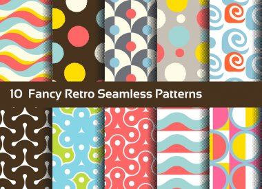 Abstract seamless patterns. Geometrical and ornamental motifs. R