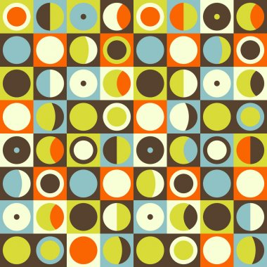 Geometric abstract seamless pattern. Retro 60s style and colors.