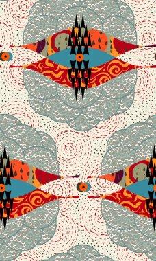 Abstract seamless pattern. Modern style motif. Stylized eyes and