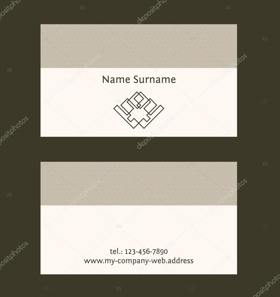 Visitenkarte Layout Vorlage Lineare Geometrische Logo Und