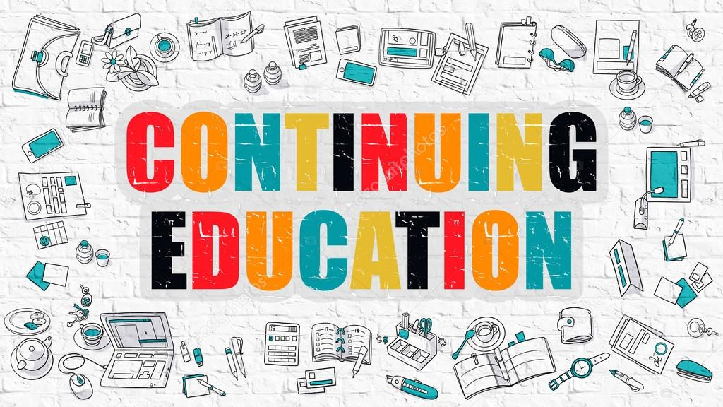 continuing education concept multicolor on white brickwall stock