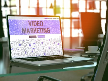 Laptop Screen with Video Marketing Concept.