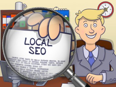 Local SEO through Magnifier. Doodle Design.