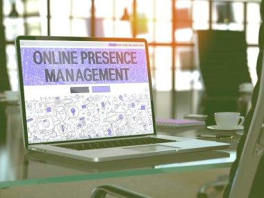 Online Presence Management Concept on Laptop Screen.