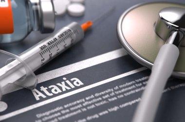 Ataxia - Printed Diagnosis on Grey Background.