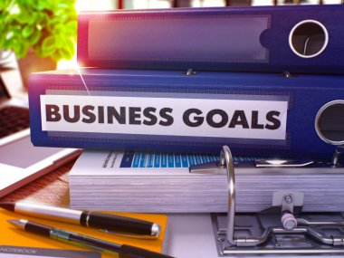 Blue Office Folder with Inscription Business Goals.
